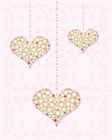 bijouterie: greeting card with diamond hearts Illustration