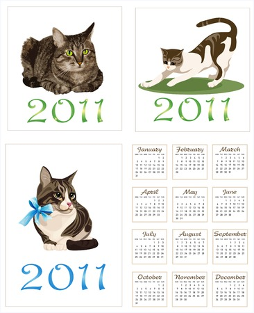 set of  cats for  pocket calendar 2011  Vector