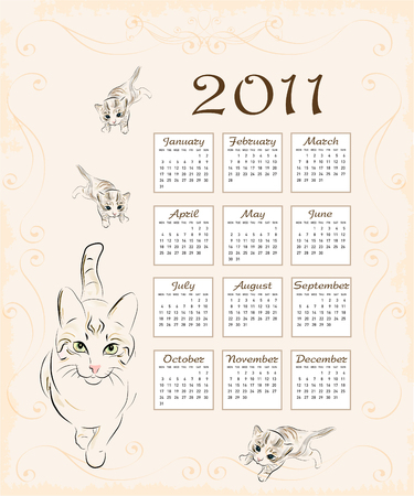 calendar 2011 with cat and  kittens Vector