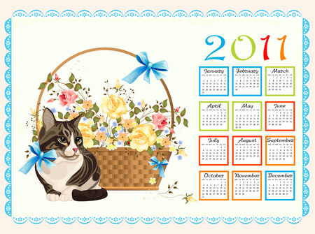 christmas pussy: calendar 2011 with cat  and roses