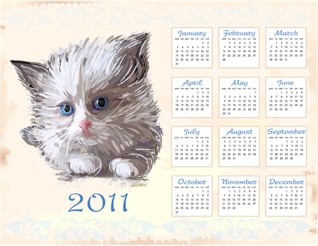 hand drawn calendar 2011 with fluffy kitten   Vector