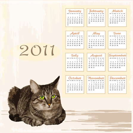 hand drawn calendar 2011 with lying tabby cat Vector