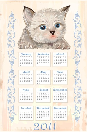 hand drawn calendar 2011 with fluffy kitten   Vector