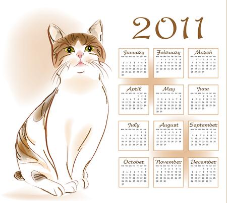 calendar design 2011 with  ginger tabby cat Vector