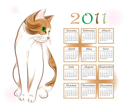 calendar design 2011 with  ginger tabby cat Vector