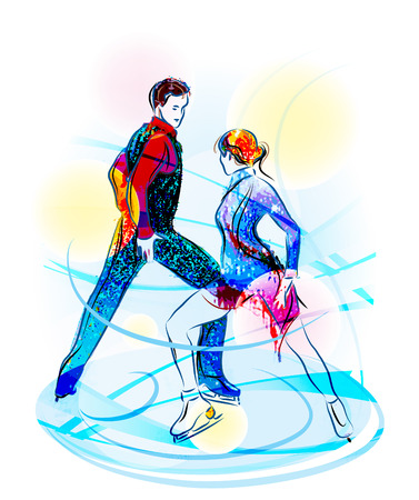 figure skating: Pair figure skating. Ice show Illustration