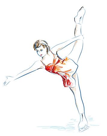 Ladies figure skating.  Hand  drawn sketch. Stock Vector - 8331918