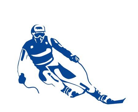 ski�r: silhouet van de skiër  Stock Illustratie