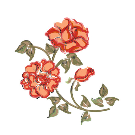 steins: hand drawn red roses