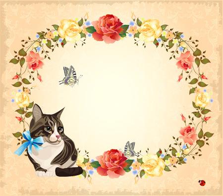 tarjeta de felicitación con gato, rosas y mariposas