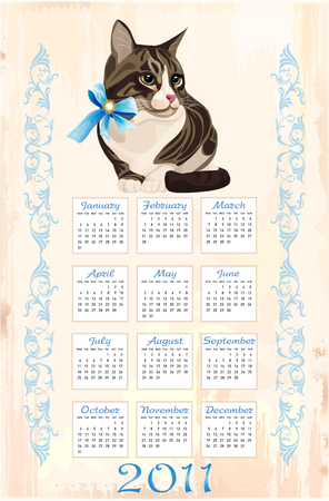 calendar 2011 with tabby cat  Vector