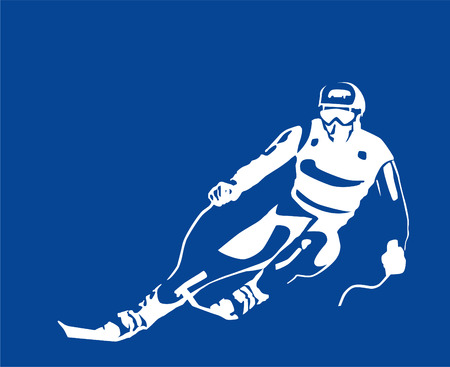 downhill skiing: white silhouette of the skier  Illustration