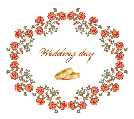 wedding card with  red roses and rings Vector