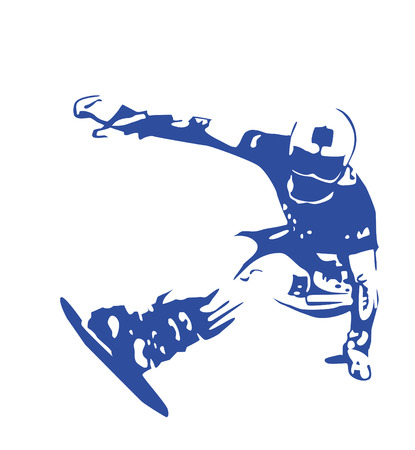 snowboarder:  blue silhouette of jumping snowboarder