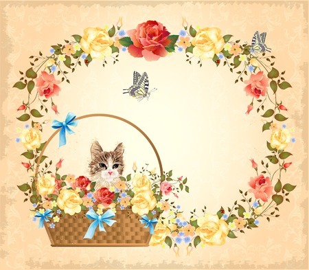 vintage greeting card with cat,  roses and butterfly