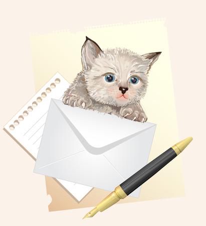 Fluffy kitten with envelope. Postage illustration Stock Vector - 8417940