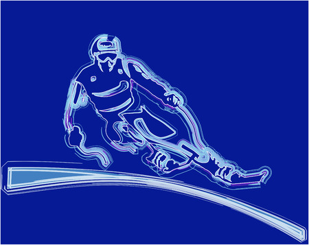 glowing silhouette of the skier Vector