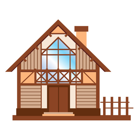 rural development: model of wooden family house Illustration