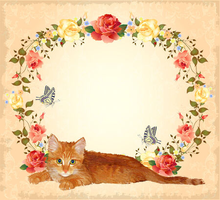 old postcards: vintage greeting card with ginger cat and roses