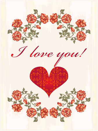 Valentines day greeting card with heart and red roses Vector