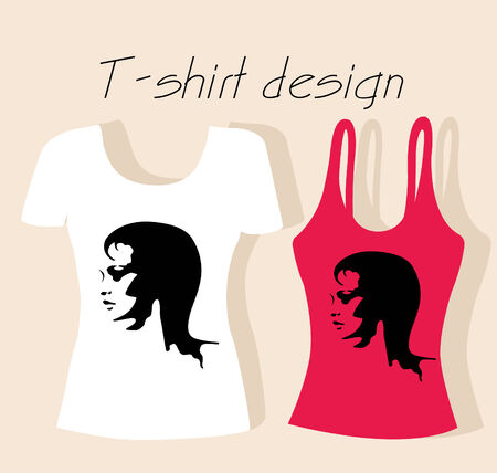 t-shirt design  with girl face Stock Vector - 8457180