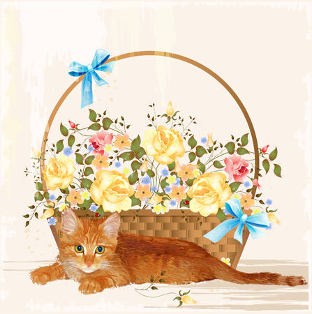 vintage greeting card with ginger  kitten and basket Vector