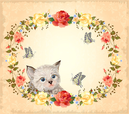 greeting card with kitten, roses and butterflies Vector