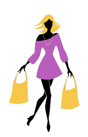 クライアント: バッグとファッションのショッピング女の子