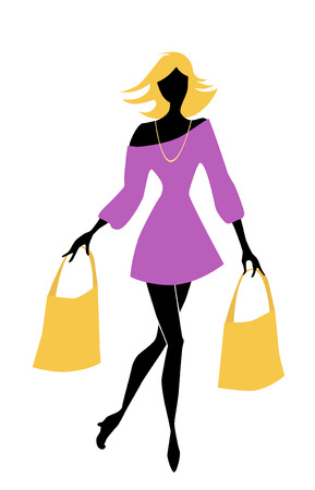 fashion shopping girl with bags Illustration