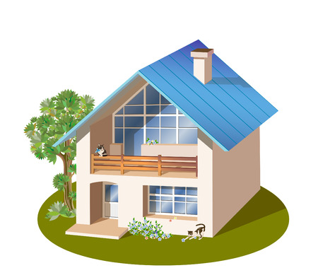 model of three dimensions family  house Stock Vector - 8506883