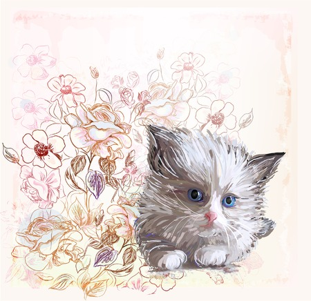 greeting card with  fluffy kitten and roses Vector