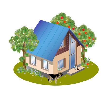 model of three dimensions family  house Stock Vector - 8553700