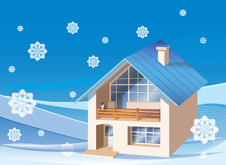 three dimensions family  house on the winter background Stock Vector - 8567069