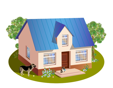 model of three dimensions family  house Stock Vector - 8567070