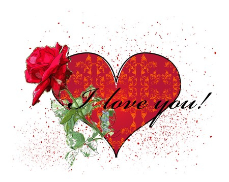 valentines day greeting card with red rose and heart Stock Vector - 8567076