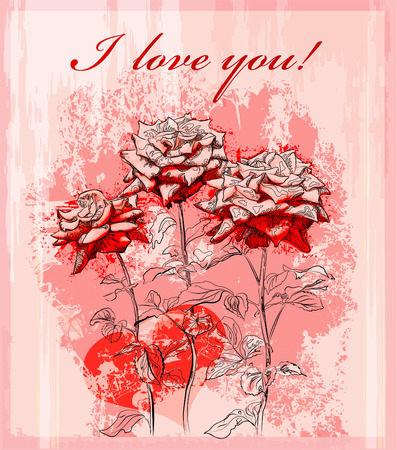 valentines day greeting card with red rose and heart Vector