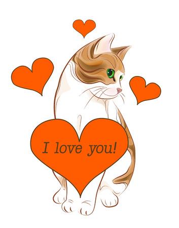 tarjeta de felicitación del día de San Valentín con Gato dorado y corazón