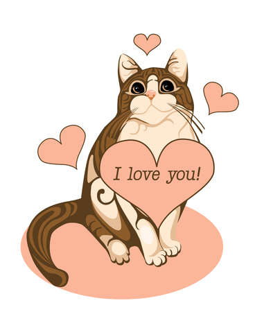 valentines day greeting card with tabby cat and heart Vector