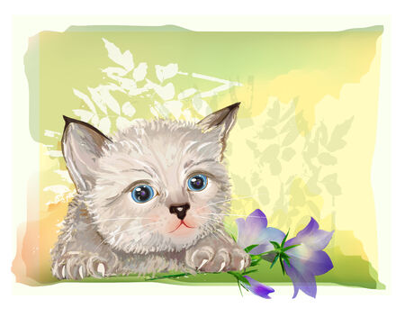 hand drawn portrait of the fluffy kitten  with bluebell Vector