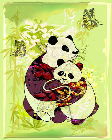 pandas family at the bamboo forest Vector