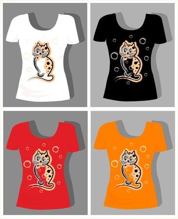 t shirt print: dise�o de la camiseta con el divertido gatito