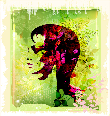 silhouette  of beautiful young woman on the floral background Vector