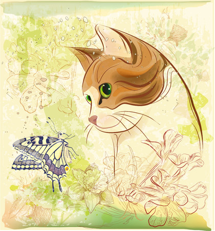 cat playing with butterfly Stock Vector - 8764142