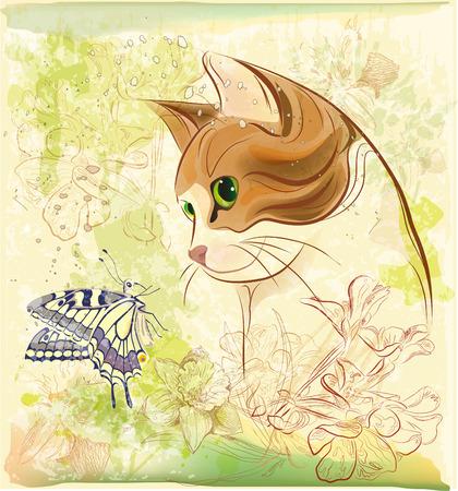 gato jugando: gato jugando con mariposa Vectores