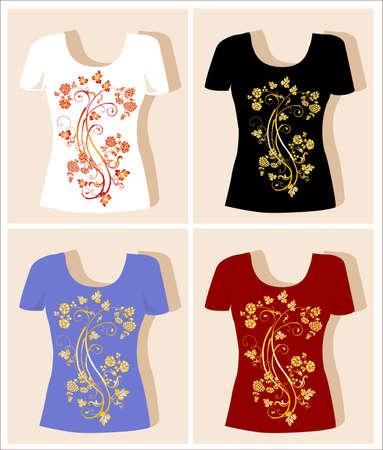 t shirt print: dise�o de la camiseta con elemento floral vendimia Vectores