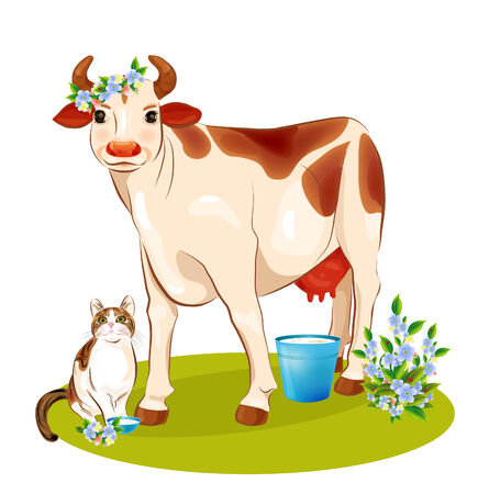 milker: happy cow and cat Illustration