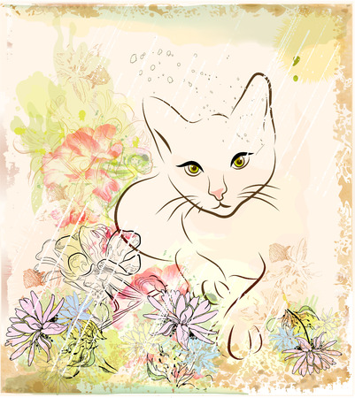 abstract background with cat an flowers Vector