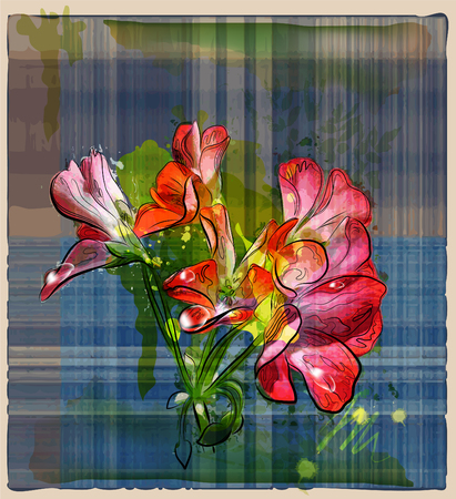hand painted red geranium flowers on the checked background Stock Vector - 8985501