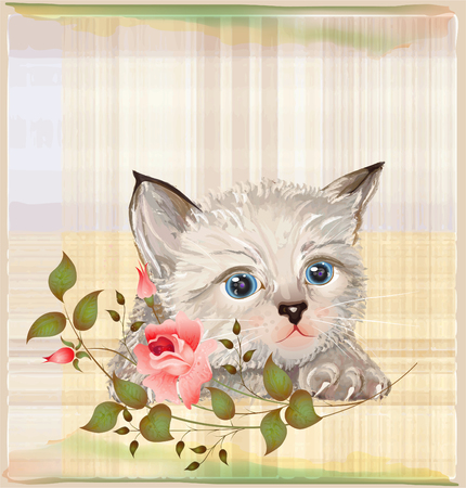 fluffy kitten  with pink rose Vector