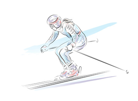 downhill skiing: hand drawn  sketch of the skier